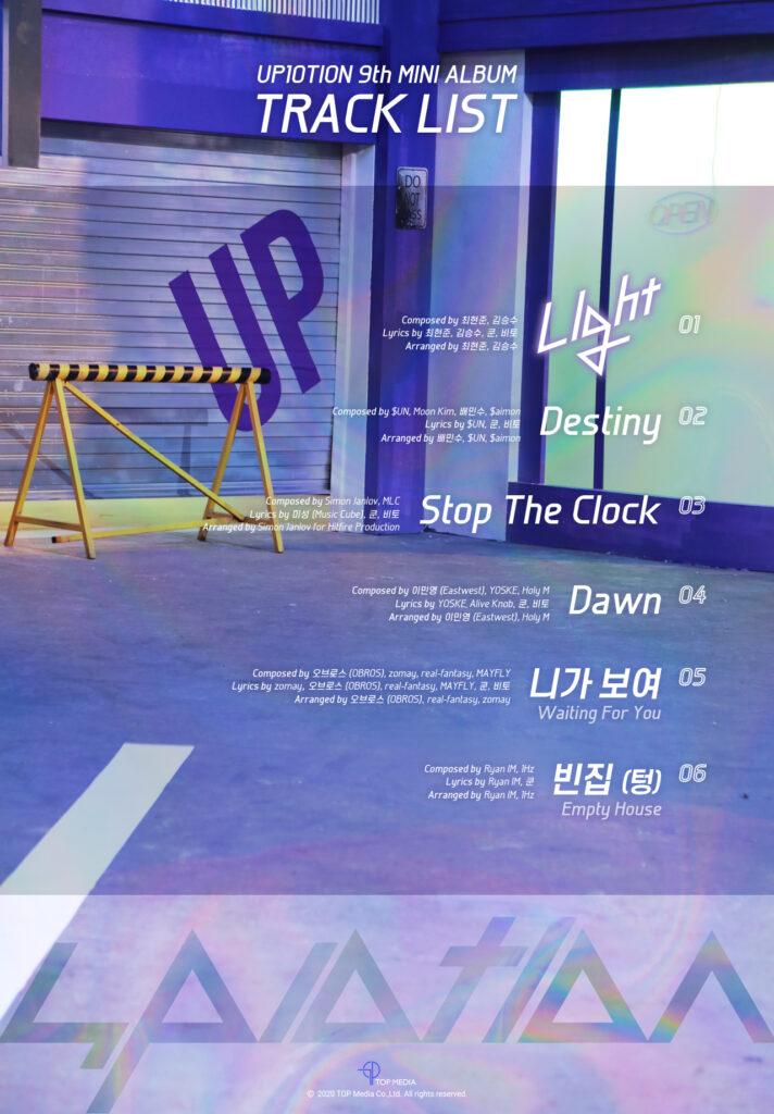 UP10TION Light Up Track List